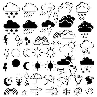 Symboles de conception plate de thème de ligne d'icônes météorologiques