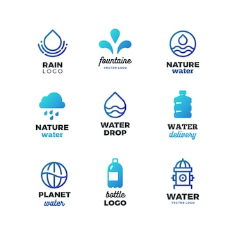 Symboles de consommation et logo de l'eau, emblèmes de l'éco-océan