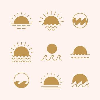 Symboles de couleur boho soleil levant et eau