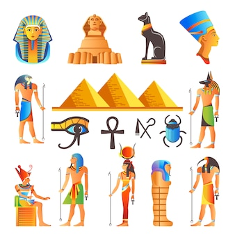Symboles de la culture égyptienne vector icônes isolées des dieux et des animaux sacrés