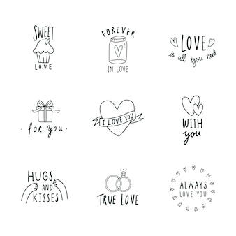 Symboles de l'amour icon set vector
