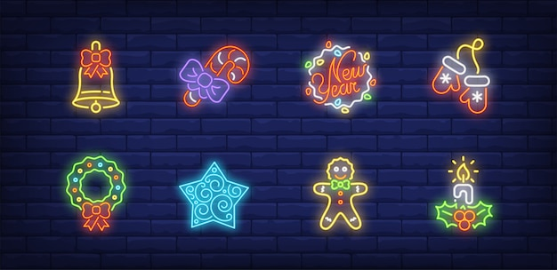Symboles de décoration de nouvel an dans un style néon