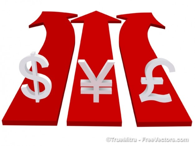 Les symboles de devises sur le rouge vecteur flèches d'affaires