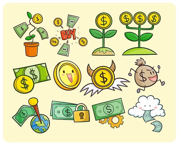 Symboles drôles de pièces de monnaie et de papier-monnaie dans un style doodle kawaii