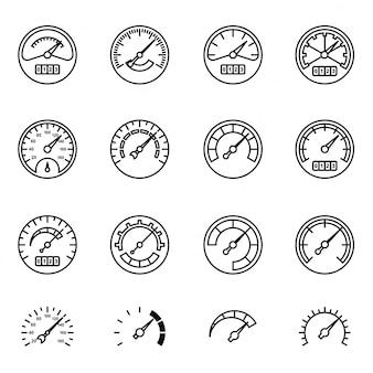 Symboles du compteur de vitesse, du manomètre, du tachymètre, etc.