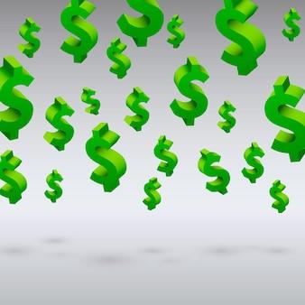 Symboles du dollar volant sur le fond gris. illustration vectorielle