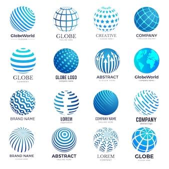 Symboles du globe. le cercle forme l'icône stylisée d'identité de formes rondes du monde pour la conception de logo. forme de globe d'illustration, technologie de réseau, vecteur filaire mondial