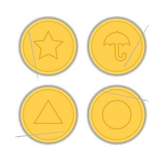 Symboles du jeu de calmar parapluie étoile triangle cercle sur bonbons en nid d'abeille jeux traditionnels coréens