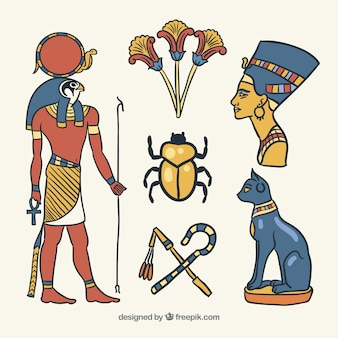 Symboles de l'egypte et les dieux mis en style dessiné à la main
