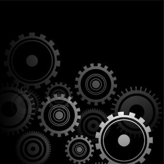 Symboles d'engrenages de style 3d sur design noir