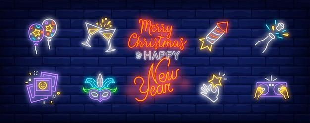 Symboles de fête dans un style néon