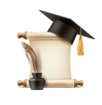 Symboles de graduation réalistes stylo plume de défilement de papier dans une bouteille d'encre et un capuchon académique de mortier