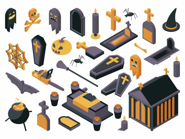 Symboles d'halloween illustration illustration définie.