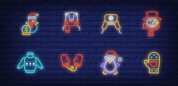 Symboles de l'heure d'hiver dans un style néon