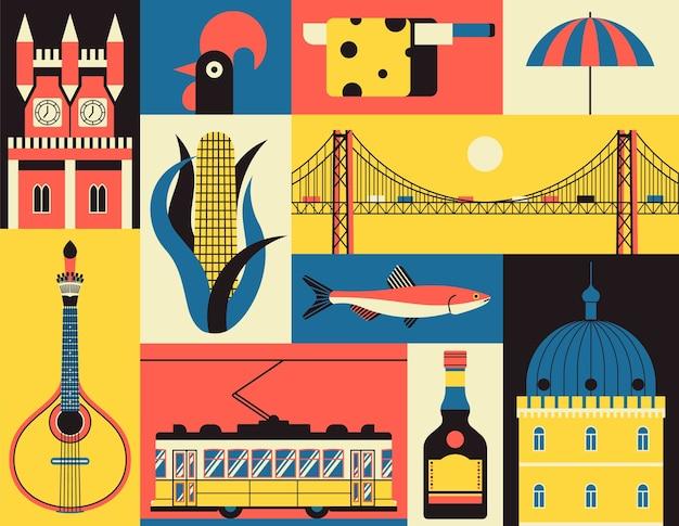 Symboles historiques de lisbonne, portugal. icon set dans le style. monument portugais. guitare, maïs, poisson, château, tram jaune, coq, fromage, plage, liqueur, pont.