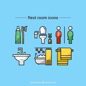 Symboles et icône de vecteur de salle de repos