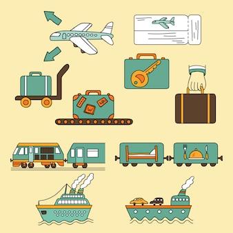 Symboles d'icône de voyage de vecteur