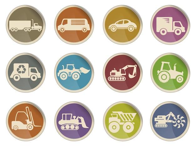 Symboles des icônes de machines de chargement de transport