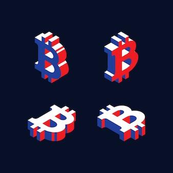 Symboles isométriques de crypto-monnaie bitcoin dans un style de forme 3d géométrique avec des couleurs rouge, bleu et blanc