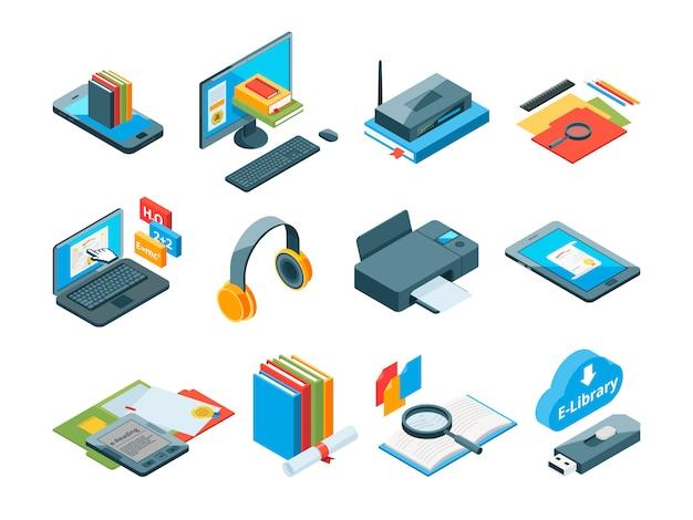 Symboles isométriques de l'éducation en ligne