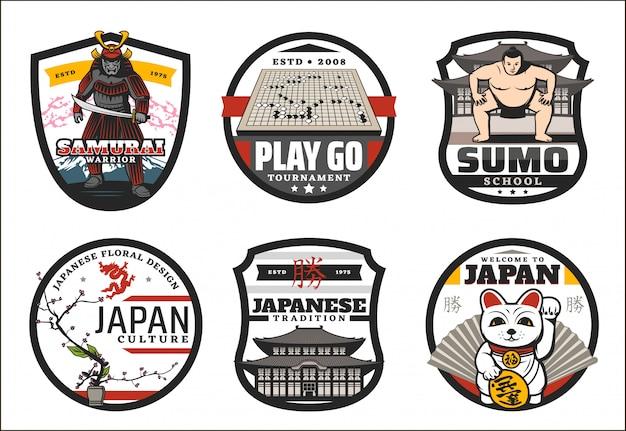 Symboles japonais, panneaux bienvenue au japon