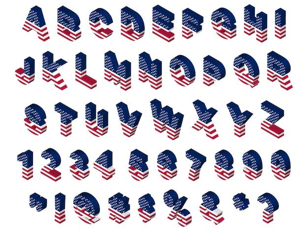 Symboles et lettres du drapeau usa isométrique