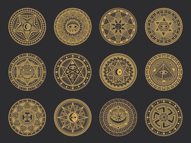Symboles magiques avec alchimie et science occulte, religion ésotérique et astrologie