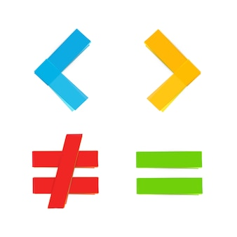 Symboles mathématiques de base égalent moins grand