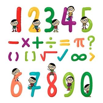 Symboles mathématiques de dessin animé dessinés à la main