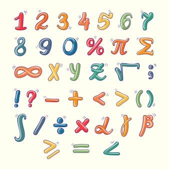 Symboles mathématiques dessinés à la main