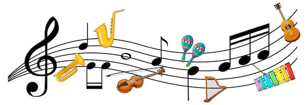 Symboles De Mélodie Musicale Avec De Nombreux Personnages De Dessins Animés Pour Enfants Doodle Vecteur gratuit