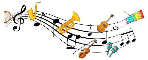 Symboles de mélodie musicale avec de nombreux personnages de dessins animés pour enfants doodle