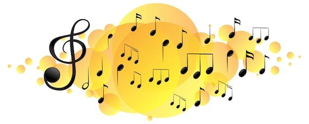 Symboles de mélodie musicale sur tache jaune