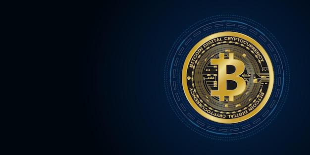 Symboles de monnaie numérique bitcoin d'or, argent numérique futuriste,