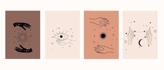 Symboles mystiques avec les mains, les yeux, le soleil et la lune. collection d'affiches magiques