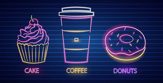 Symboles néon petit gâteau, café et beignet
