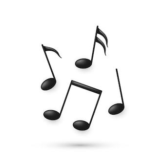 Symboles de note de musique de volume noir