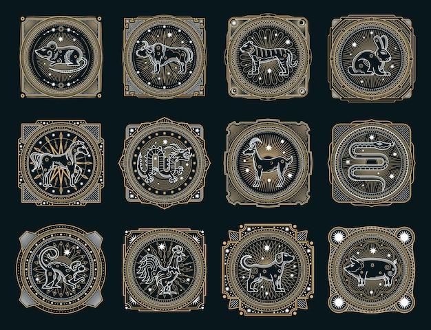Symboles occultes de l'horoscope chinois, animaux du zodiaque