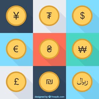 Symboles de pièces emballent
