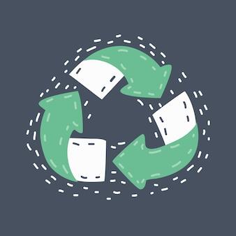 Symboles de recyclage doodle dessinés à la main