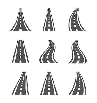 Symboles de route incurvée. autoroute et chaussée, illustration des panneaux de direction sur fond blanc.