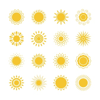Symboles de soleil jaune de vecteur. collection d'icônes soleil et soleil sur fond blanc