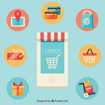 Symboles de téléphones intelligents et commerciaux avec un design plat