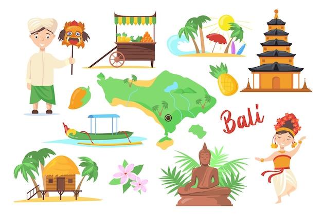 Symboles Traditionnels De Bali Pour Les Voyageurs Vecteur Premium