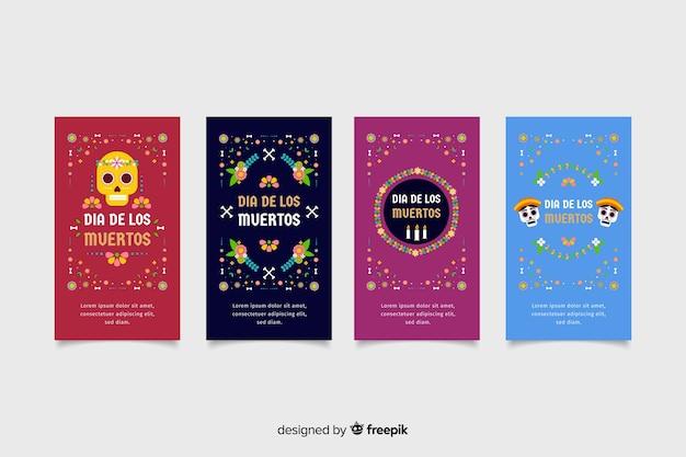 Symboles traditionnels de dia de muertos pour les histoires de médias sociaux