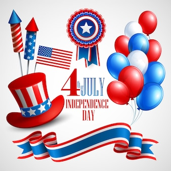 Symboles de vacances de la fête de l'indépendance. illustration