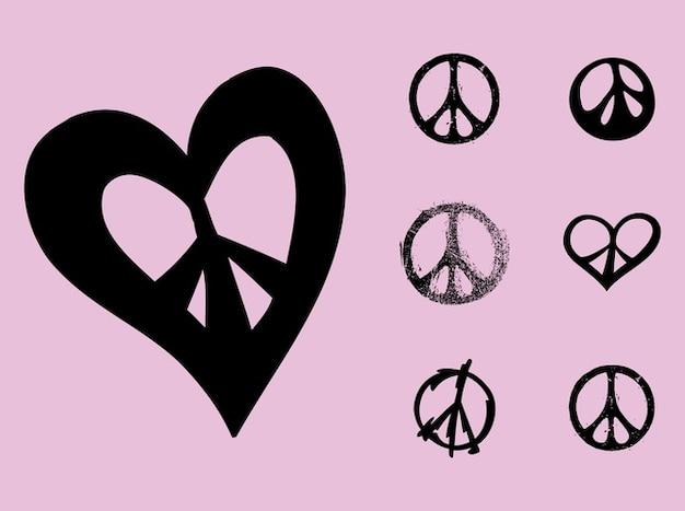 Symboles vecteur de flower power de paix