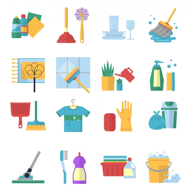 Symboles de vecteur de services de nettoyage en style cartoon.