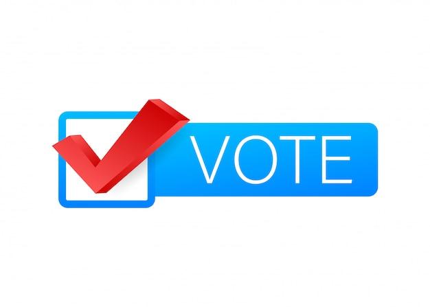 Symboles de vote. icône de coche. étiquette de vote sur fond blanc. illustration de stock.