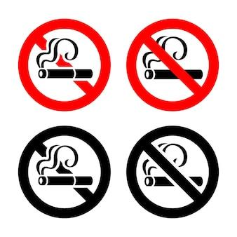 Symboles de zone fumeurs, signe non autorisé